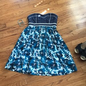 Urban Outfitters navy strapless dress with pockets